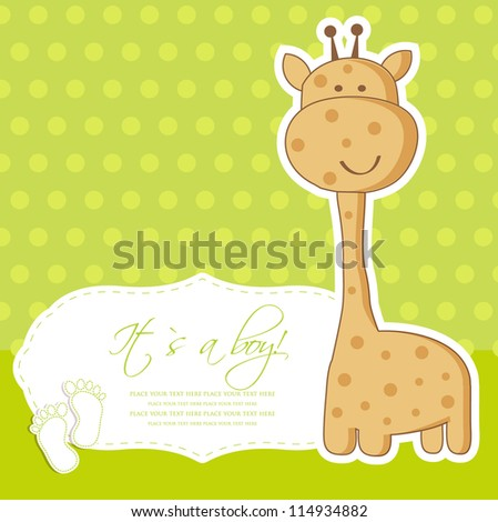 Baby boy shower card with cute giraffe - stock vector