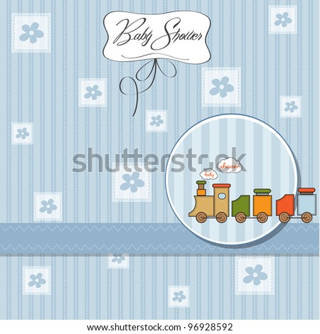 baby boy shower card with toy train - stock vector