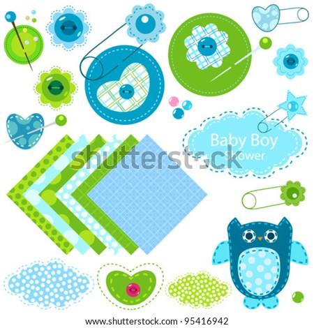 baby boy shower elements set - stock vector