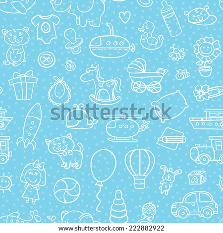baby boy toys seamless pattern. vector outline seamless pattern for baby boy with toys for background, textile, baby shower - stock vector