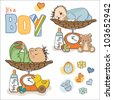 baby boy weighed on the scale, items set on white background - stock vector