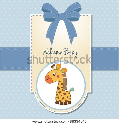 baby boy welcome card with giraffe - stock vector