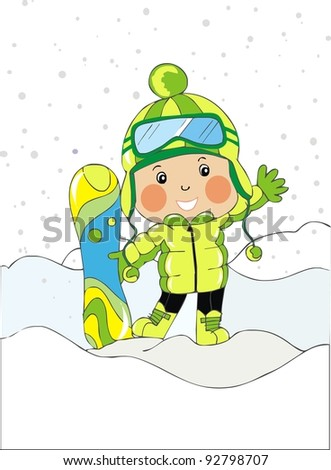 baby boy with snowboard - stock vector