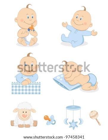 Baby boy with toys and accessories in blue color - stock vector