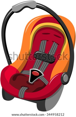 Baby Car Seat with five point safety harness and carrying handle isolated - stock vector