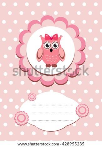 Baby card cute owl baby owl stock vector 428955235 shutterstock baby card cute owl baby owl invitation frame for text cute animal cartoon stopboris Choice Image