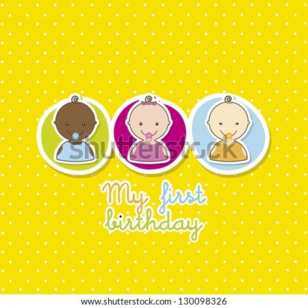 baby card over yellow background. vector illustration - stock vector