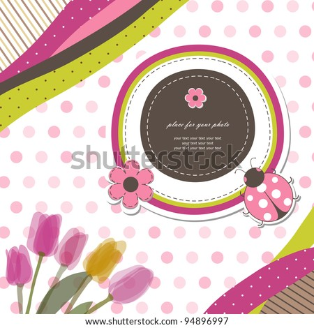Baby card (vector eps 10). Romantic scrapbooking for invitation, greeting, birthday, label, postcard, congratulation, frame, gift and etc. - stock vector