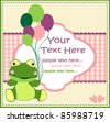 baby card with a frog - stock vector