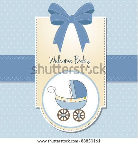 baby card with pram - stock vector