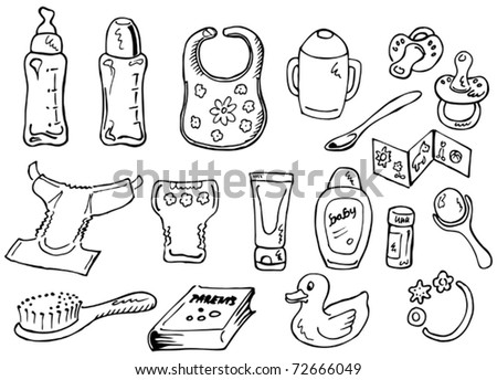 Baby care set. Hand-drawn illustration converted to vectors. - stock vector