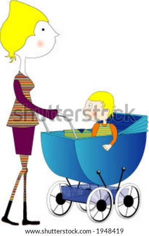 Baby-Carriage - stock vector