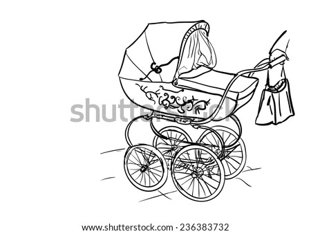 baby carriage - stock vector
