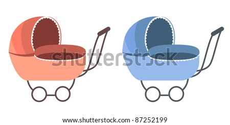 Baby Carriage. For boy and for girl. - stock vector