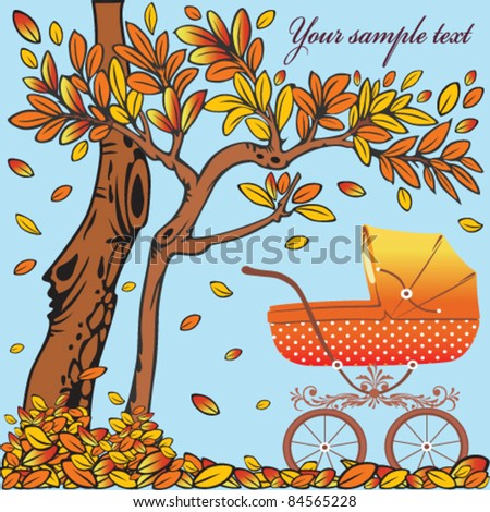Baby carriage in the autumn background - stock vector