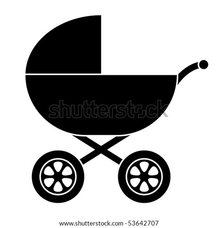 Baby Carriage Silhouette - stock vector