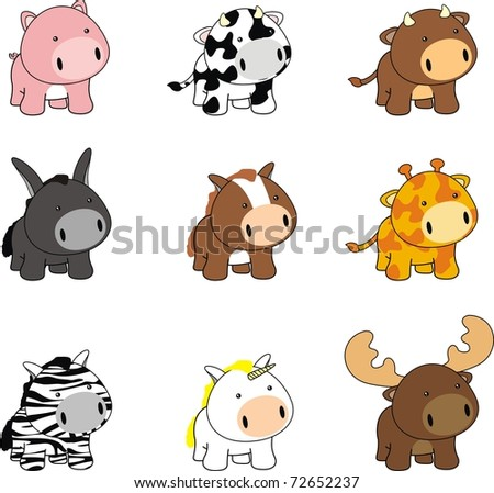 baby cartoon animals set in vector format very easy to edit