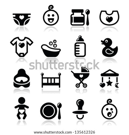 Baby, childhood vector icons set isolated on white - stock vector