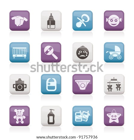 Baby, children and toys icons - vector icon set - stock vector