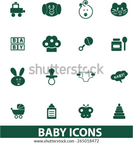 baby, children, toys icons, signs, illustrations set, vector - stock vector