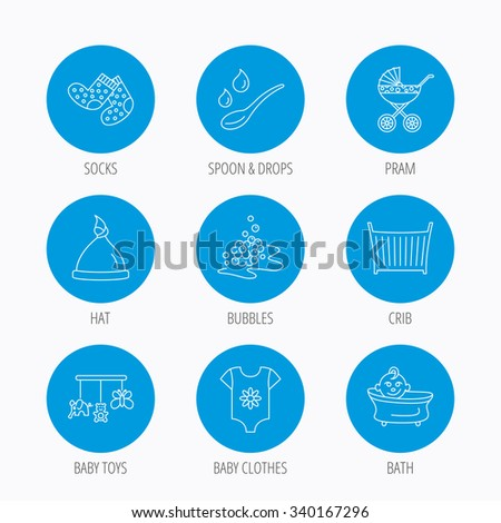 Baby clothes, bath and hat icons. Pram carriage, spoon with drops linear signs. Socks, baby toys and bubbles flat line icons. Blue circle buttons set. Linear icons. - stock vector