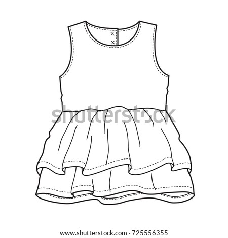 baby clothes flat sketch template isolated stock vector royalty
