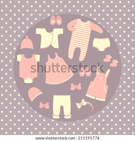 Baby clothes set. Pastel colors - stock vector