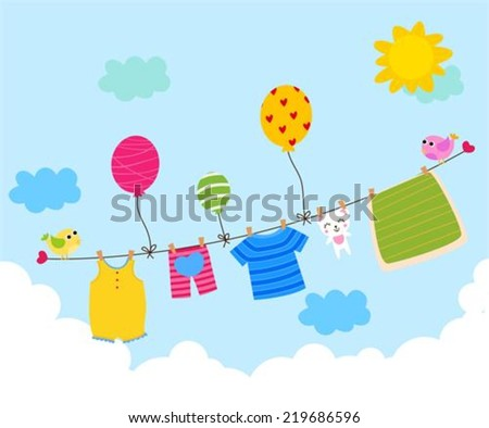 Baby clothesline - stock vector
