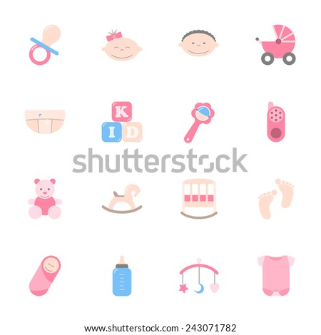 Baby color flat icons set graphic illustration design - stock vector