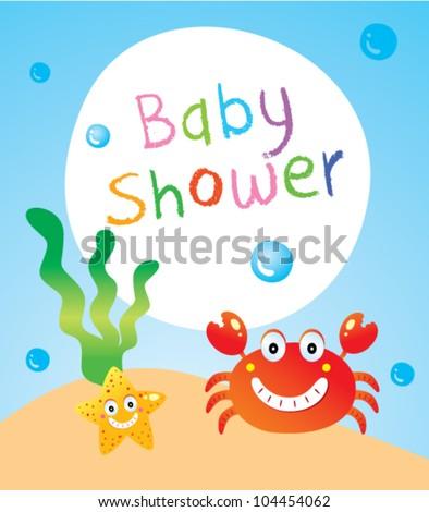 baby crab shower - stock vector