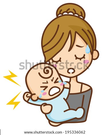 Baby cry and mom - stock vector