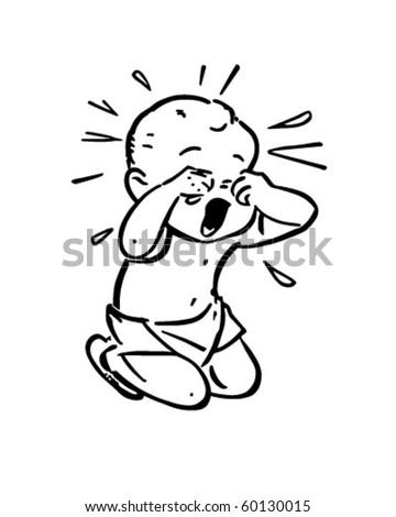 Baby Crying   Retro Clip Art