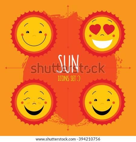 Baby cute vector sun icon set. Cute baby smile sun logos collection. Smiley icon art logo designs. Sun vector with arrows and paint splash on yellow background. Sun icon set on painted background - stock vector