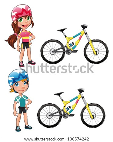 Baby Cyclists. Funny cartoon and vector character. Isolated objects