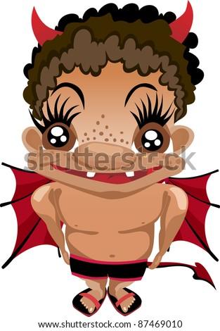 Baby Devil. Funny cartoon and vector - stock vector