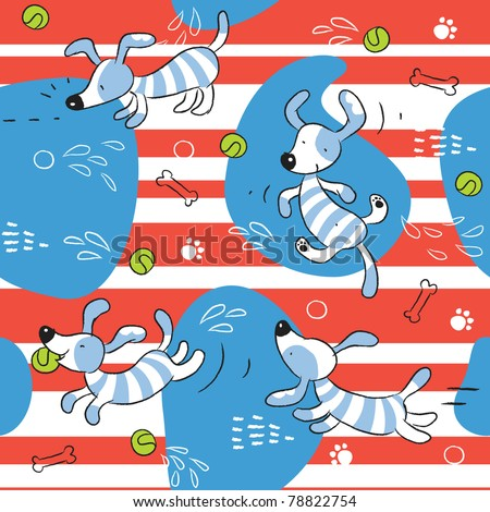 baby dog seamless pattern background - stock vector