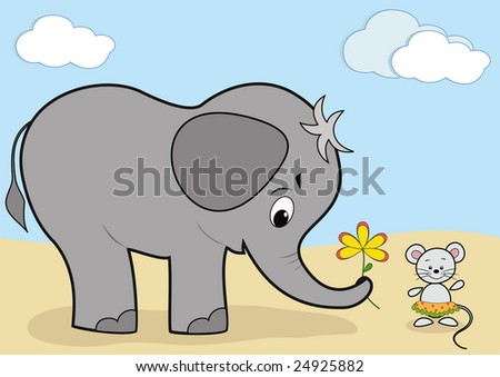 Baby elephant and mouse. Vector illustration. - stock vector