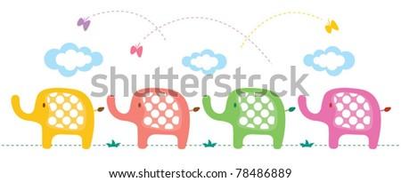 Baby elephant landscape design - stock vector