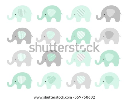 Baby elephant vector set. Cute elephants with patterned ears. Mint and Gray.