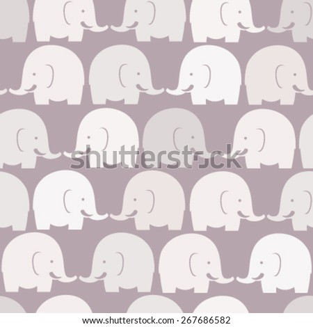 baby elephants purple seamless pattern - stock vector