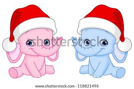 Baby elephants with Santa hats - stock vector