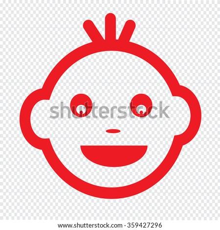 Baby Face Emotion Icon Illustration symbol design - stock vector