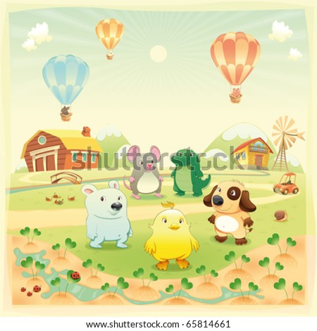 Baby farm animals in the countryside. Funny cartoon and vector illustration, isolated objects. - stock vector