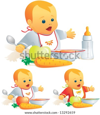 Baby feeding, nursing-bottle, solid food, variants. Vector illustration. More of the series in portfolio. - stock vector