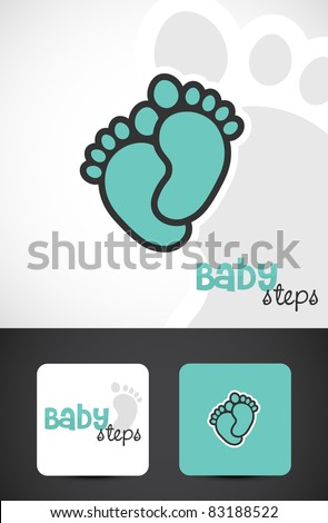 Baby feet, logo & business cards, Vector EPS10. - stock vector