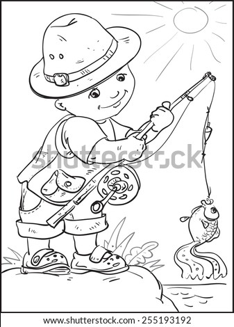 Baby Fishes Little Boy Standing On Stock Vector 255193192