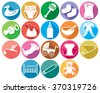 baby flat icons collection (absorbent diaper, clothes, stork carrying children in its beak, bed, rattles, safety pin, teddy bear, socks, bottle, carriage) - stock vector