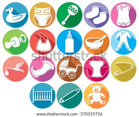 baby flat icons collection (baby absorbent diaper, baby clothes, baby bib, stork carrying a baby in its beak, children's bed, rattles, safety pin, teddy bear, socks, baby bottle, baby carriage) - stock vector