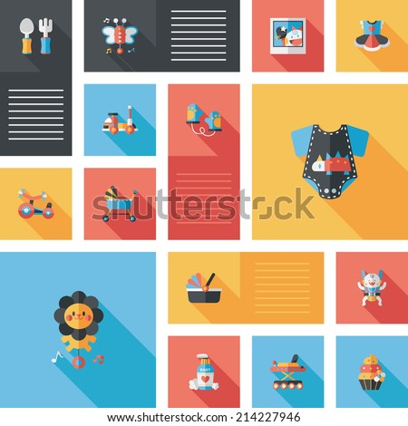 baby flat ui bakcground set - stock vector