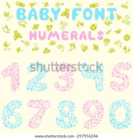Baby font design. Eps 10 vector illustration without transparency.